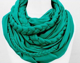 Zopfloop turquoise / / Zopfschal / / braided scarf