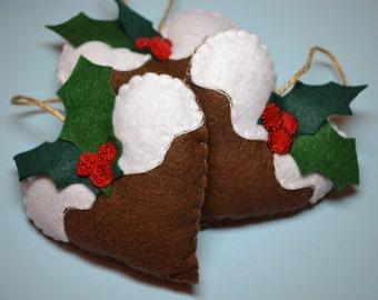 Christmas Holiday Tree Felt Gingerbread Hearts, set of 3