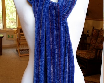 Handwoven Chenille scarf in Blues