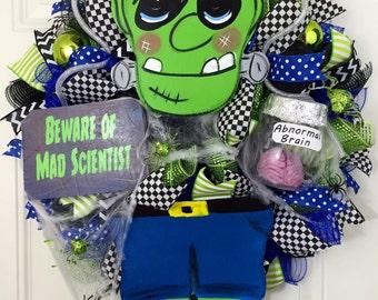 Halloween deco Mesh Wreath, Frankenstein Halloween Wreath, Halloween Door Decor, Frankestein Deco Mesh Wreath, Ready to Ship