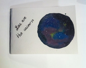 Galaxy notebook Universe Travelers notebook sketchbook Travelers diary journal genuine diary journal stars watercolor gift for her him