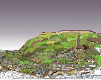Yorkshire illustration, fine art print, Mytholmroyd and Hebden Bridge West Yorkshire Giclee Print - Original Print - #bs2andbeyond