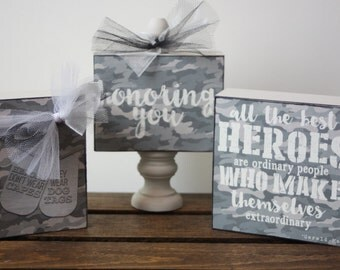 Military gift, Military blocks, Wood blocks, Military wood blocks, Gift, Family gift, Military family gift, Heros, Honoring you, Dog tags