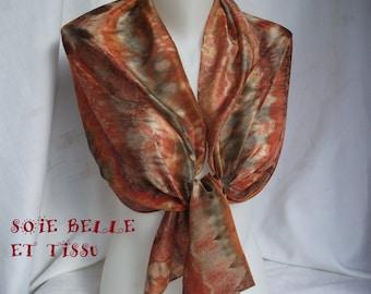 Handpainted silk scarf fall colors