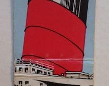 Cunard Line . Match Book Cover . Full Length Queen Mary Ocean Liner Cruise Ship