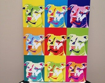 "Red Nose Pit Bull 8.5"" x 11"" Pop Art Print - FREE SHIPPING"