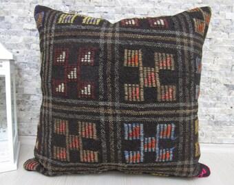 Handspun Goat Hair Kilim Rug Turkish Pillow Cuahion 24 x 24 handmade Pillow Floor Cushion Turkey Pillow Kilim Rug Decorative Pillows