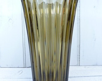 Vintage smoked glass fluted vase.