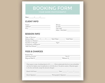 Client Booking Form For Photographer, Photography Contract, Session Booking Sign up - Photoshop PSD *INSTANT DOWNLOAD*