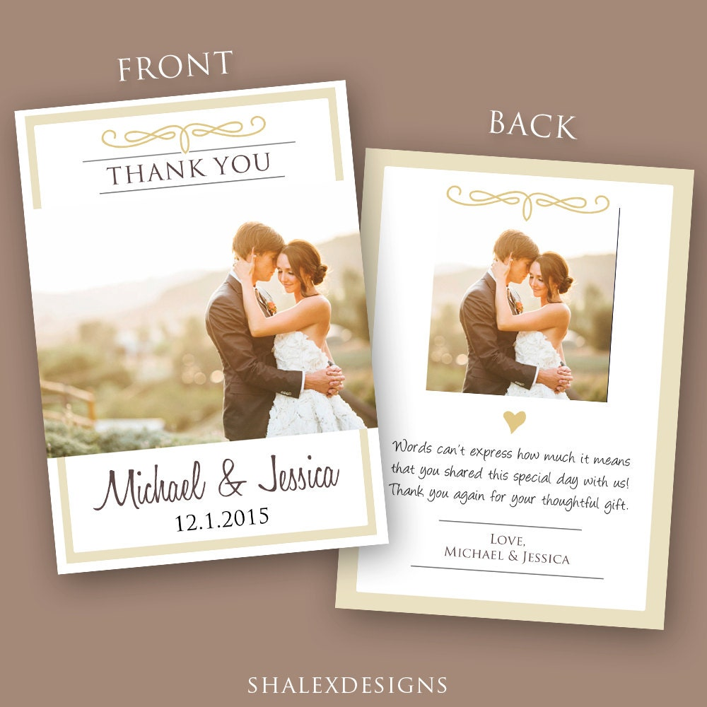 Wedding Thank You Card PSD Template Instant Download