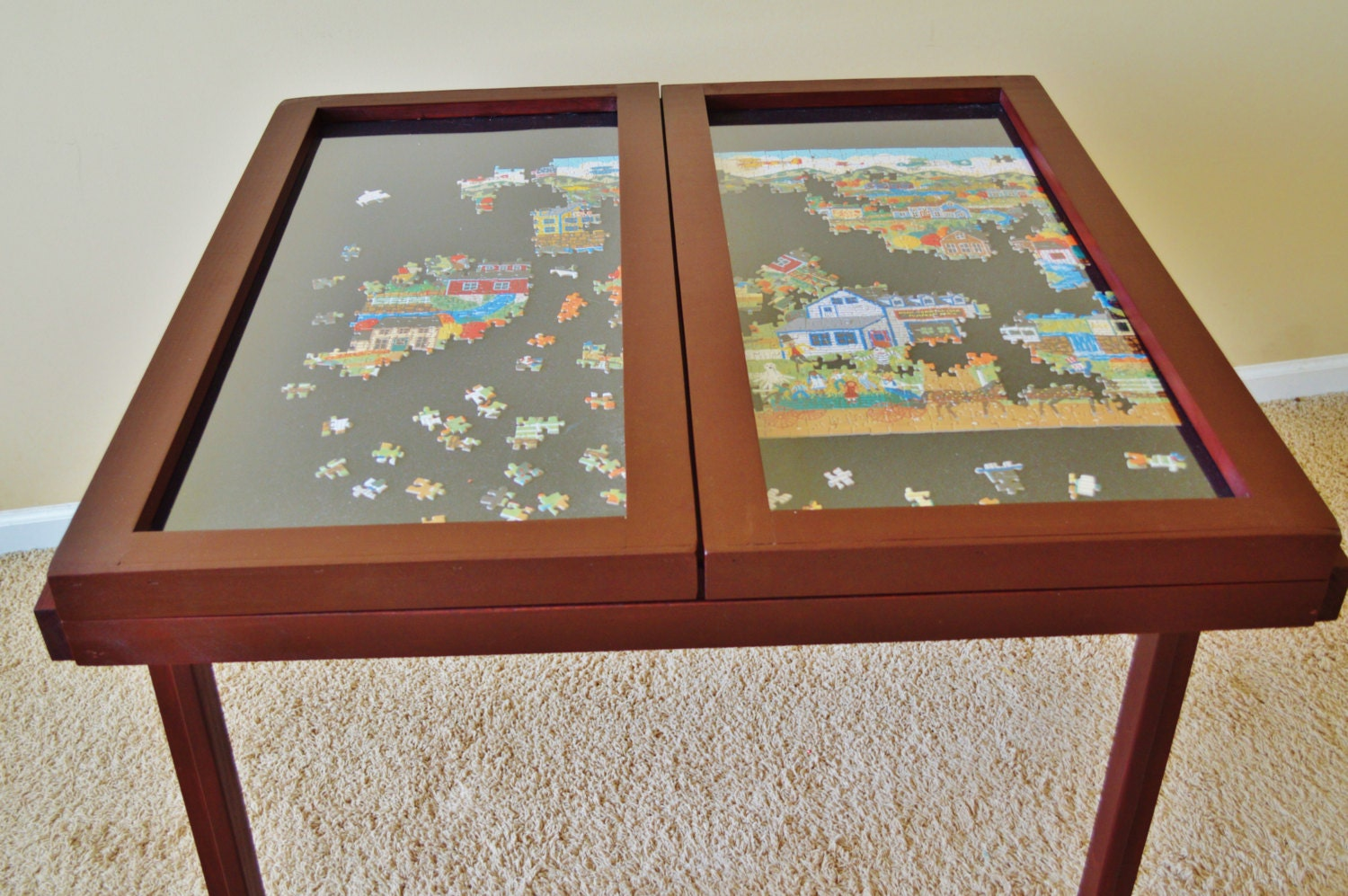Windowpane puzzle table - Puzzle boards with drawers ...