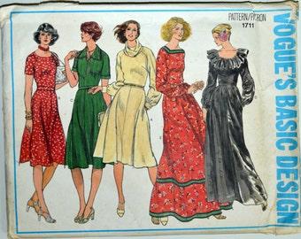 Uncut 1970s Vogue Vintage Sewing Pattern 1711, Size 8; Misses' Dress