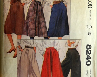 1980s McCall's Vintage Sewing Pattern 8240, Size 14; Misses' Culottes and Skirts