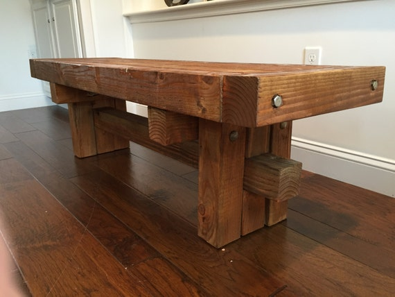 Rustic industrial coffee table reclaimed wood table side for Industrial farmhouse coffee table