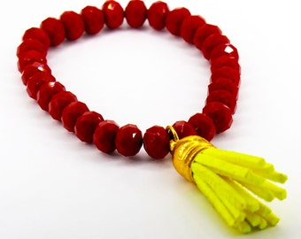 Cherry Red Chinese Crystal Stretch Bracelet with Neon Yellow Suede Tassel