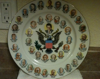 """Vintage 'Election Year' Presidential Porcelain &Gold Trimmed """"Clinton"""" Plate"""