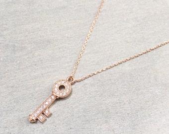 Crystal Key Necklace ~ Rose Gold