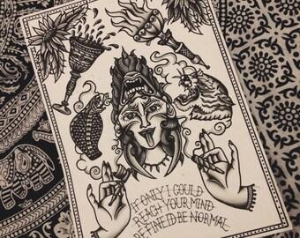 Wavey Traditional Tattoo Blackwork Flash Sheet A3