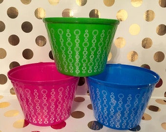 Plastic round monogrammed personalized Polka Dot Buckets