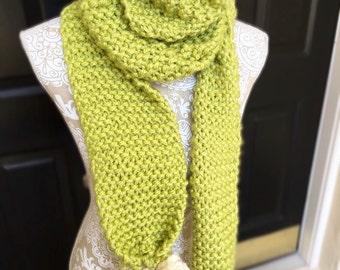 Chunky Lime Knit Pom Scarf
