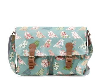 Oilcloth Crossbody bag - Laptop bag - Green Bird Satchel - Ladies handbag - Oil cloth Messenger - Diaper bag - Laminated cotton - Waterproof