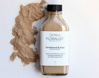 Sandalwood & Sage Face Polish / Sandalwood Exfoliant, Face Scrub, Facial Polish, Exfoliator / Natural, Vegan Skincare / Organic Skincare