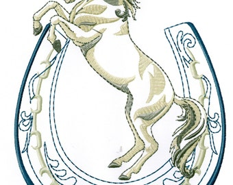 HORSE WITH HORSESHOE - Machine Embroidery Design