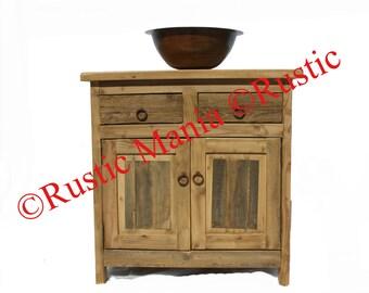 Rustic weathered wood vanity (6121)