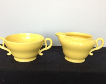 Franciscan El Patio Bright Yellow (Glossy) Creamer and Open Sugar Bowl