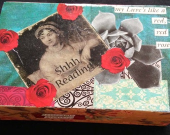 Vintage box, decoupaged, varnished, poems, romance