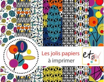 Set of paper origami and scrapbooking patterned African coloured to download and print