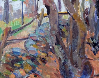 Autumn Fall Woods 1945 by Gottfrid Olsson (1890-1979) Listed Swedish Artist