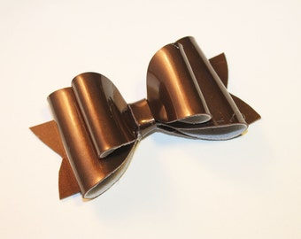 Patent Shimmer Bow in Chocolate