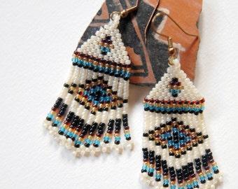 Beaded Chevron Earrings