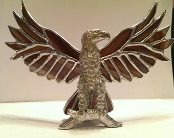 Perched Eagle with Stained Glass Wings