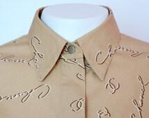 Chanel Paris vintage beige cotton blouse shirt logged CC CHANEL medium size