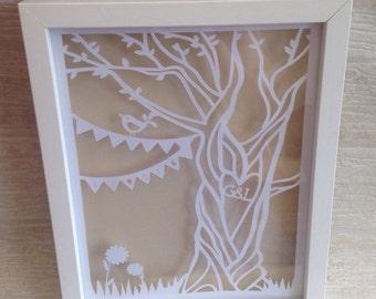 Personalised wedding gift, wedding papercut, wedding present, personalized wedding, custom wedding wall art wedding keepsake