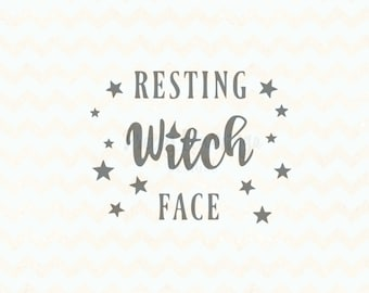 Resting witch face SVG, Halloween SVG File, halloween cutting file, halloween decor DIY, cricut design space, silhouette studio file