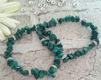 SUMMER SALE**Malachite crystal healing bracelet, malachite crystal bracelet, malachite bracelet, crystal healing bracelet, crystal chip