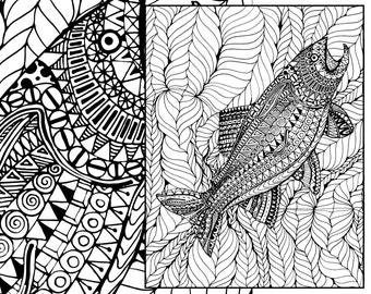 Items similar to whale coloring page adult coloring sheets