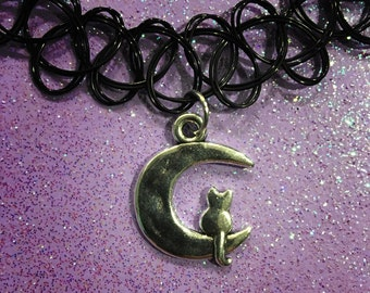 Moon Kitty Tattoo Choker