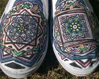 Hand painted Bedouin Egyptian Patterned Slip ons