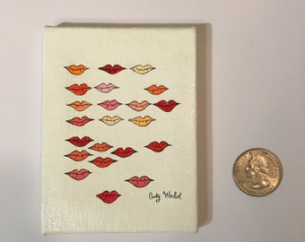 Miniature Painting Andy Warhol Stamped Lips Tiny Painting Miniature Art
