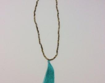 Earthtone beaded necklace with Tassle