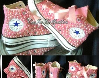 Pearl Converse, Custom Converse, Custom High Top Converse, Bling High Top Converse, Pink Converse, Sparkly Converse, Girl Converse