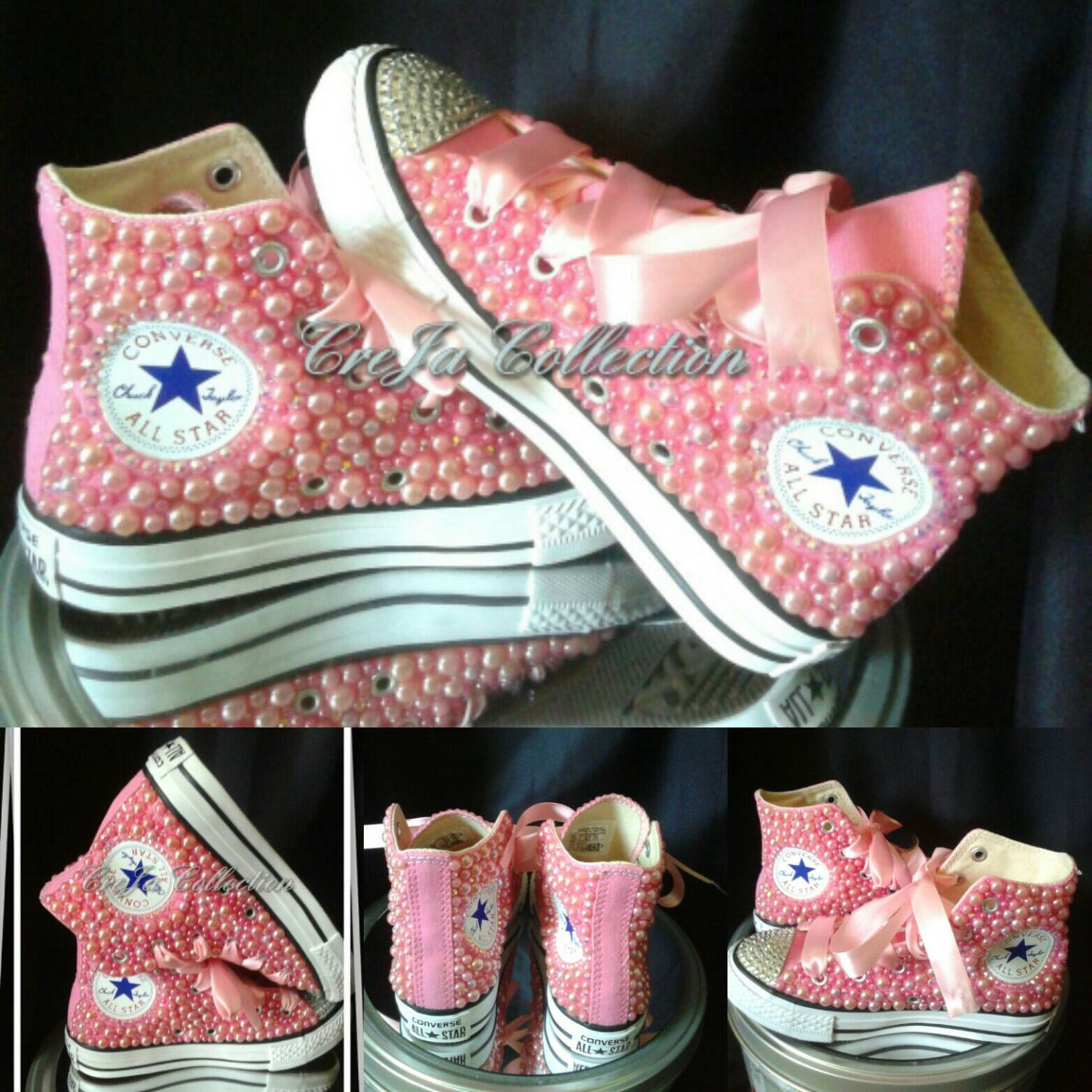 Pink Bling Converse Shoes