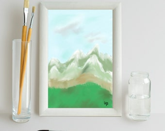 "PEAKS 6×4"" PRINT GREETINGS card - landscape - outdoors - nature - evening - digital art - wall print - birthday - note card - mountain range"