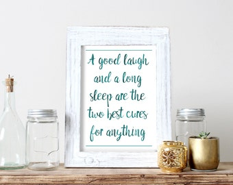 Best Medicine Laugh and Sleep Printable Healing Poster Quote Print Laugh Instant Download Gift for Sick Sickness Get Well Have Fun Gift Art