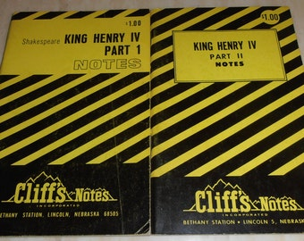 Cliff's Notes King Henry IV Part 1 - 1960 - King Henry IV Part 2 - 1963 - Shakespeare