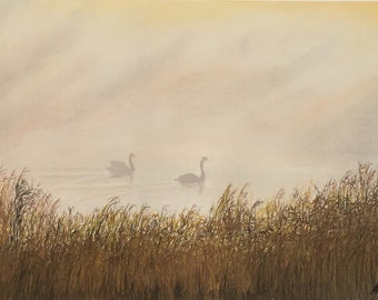 Schwäne im Nebel, Pastellmalerei, im Alurahmen